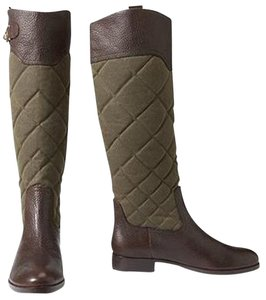 Eddie Bauer Riding Quilted Canvas Leather Green 1 Olive/ Brown Boots