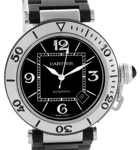 Cartier Cartier Pasha Seatimer Steel Black Rubber Strap Mens Watch W31077U2