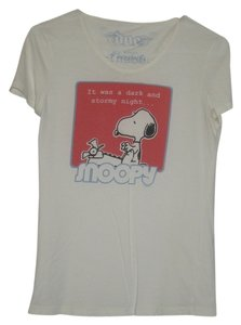 Urban Outfitters Snoopy Character Front Back Design Vintage Look T Shirt Cream Tee, screen print red and blue logo