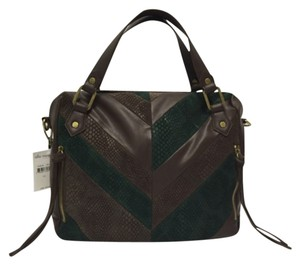 Ella Moss Labyrinth Leather Handbag Satchel in Brown and Green