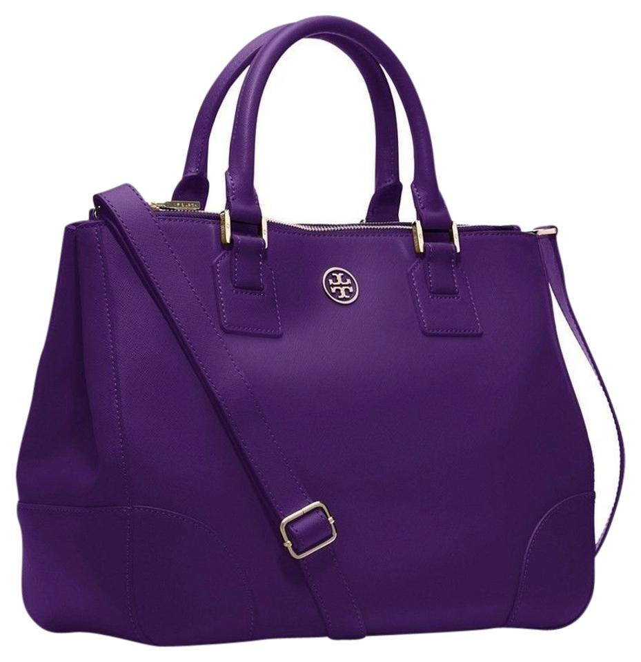 Tory Burch Robinson Double Zip Tote Electric Purple Bag - Satchel