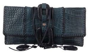 Calvin Klein Collection Crocodile Alligator Oversized Navy Clutch