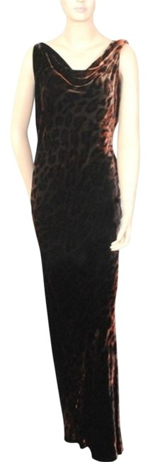 Item - Brown Dfv Velvet Evening Leopard Long Formal Dress Size 4 (S)