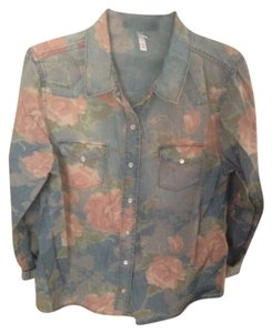 Target Button Down Shirt Floral/ light blue
