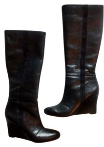 Ann Taylor LOFT Faux Leather Suede Wedge Black Boots