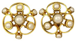 Chanel Authentic Vintage Chanel Earrings, 90s Clip Earrings In Chanel Box, Gold And Pearl Statement Studs
