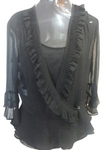 Jones New York Blouse Camisole Top sheer black