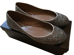 Elie Tahari Sequin Leather Pearl Flats