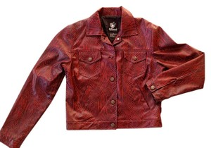 Dollhouse Red Funky Vintage Red, Snakeskin, Vinyl Leather Jacket