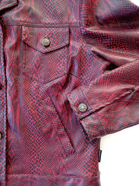 Dollhouse Funky Vintage, Red, Snakeskin, Vinyl Leather Jacket