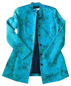 Lili Butler Silk Embroidered Top Turquoise