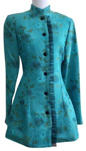 Lili Butler Silk Embroidered Jacket Evening Top Turquoise