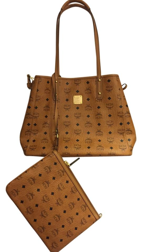 c0cc41a037e2dd MCM Medium with Attached Cosmetics Pouch Tan and Black Leather ...