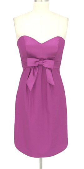 Purple Satin Polyester Sweetheart Bow Formal Feminine Dress Size 6 (S)