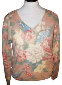 Ralph Lauren Vintage 100% Lambswool V-neck Floral Sweater