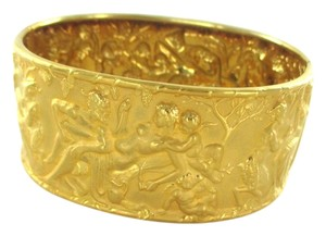 Other 18KT SOLID YELLOW BRACELET BANGLE PAN GREEK GOD FAUNUS FAUNA ART NUDES WOMAN