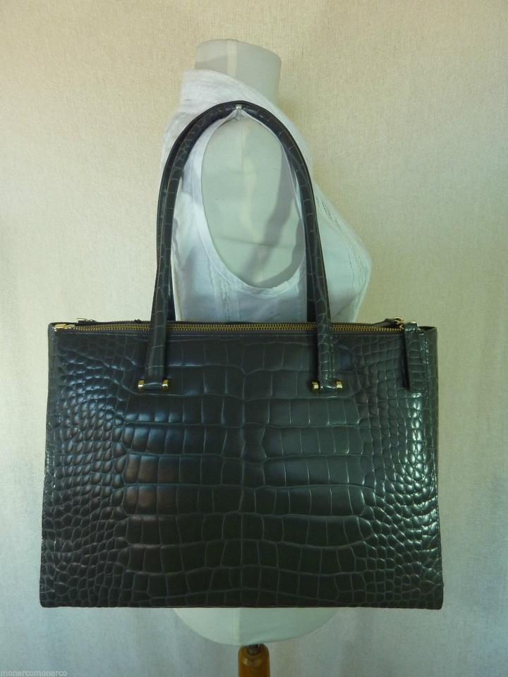 Furla Leather Large Gray Lotus Embossed Tote 4rHq4fp