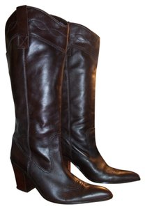 Sam & Libby Leather Womens DARK BROWN Boots