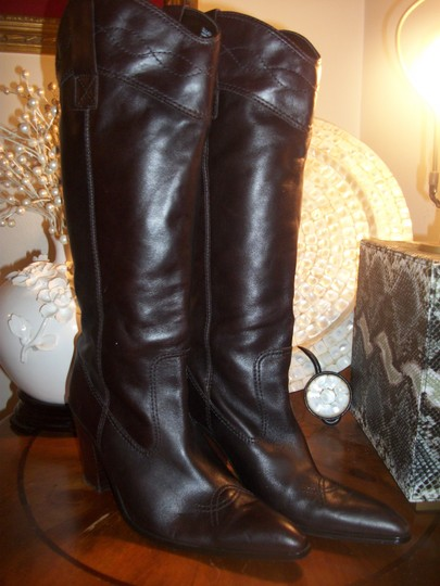 Sam & Libby Leather Womens Fashion Cowboy DARK BROWN Boots