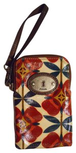 Fossil Wristlet in red, green, yellow & brown print
