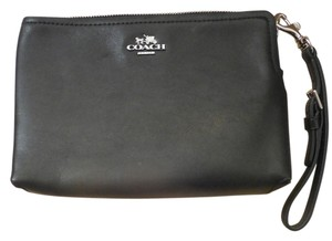 Coach Classic Clip On Hardware Simple Elegant Black & Silver Clutch