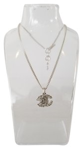 Chanel Crystal CC and Clover Pendant Necklace