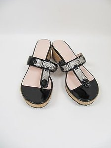 Taryn Rose Nelly Patent Black Sandals