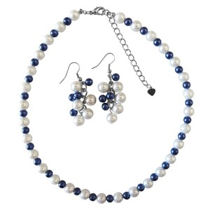 Royal Blue Pearls & White Pearls Necklace W/ Grape Bunch Earrings Set