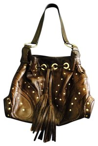 Le'Bulga Vintage Leather Gold Hardware Shoulder Bag
