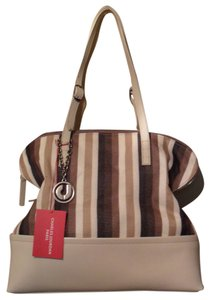 Charles Jourdan Savannah 5 Stripe Canvas Leather Nwt Brown Shoulder Bag