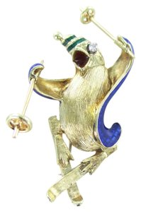 Other 14KT SOLID YELLOW GOLD PIN PENGUIN HAT SKIES HAT ENAMEL NO SCRAP 16.4 GRAMS