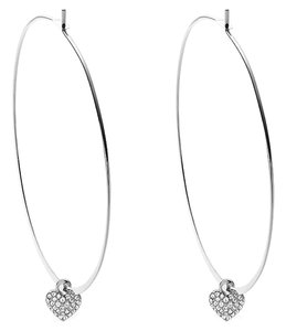 Michael Kors LAST PAIR..Silver Tone Hoop Earrings with Removable Heart Charm