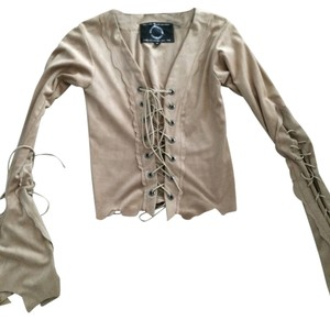 Italiano couture company Lace-up Suede Top Tan