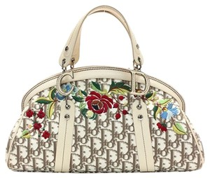 Dior Canvas Leather Summer Satchel in Designer Logo Canvas, Floral Embroidered, Nude Leather, Silver Hardware