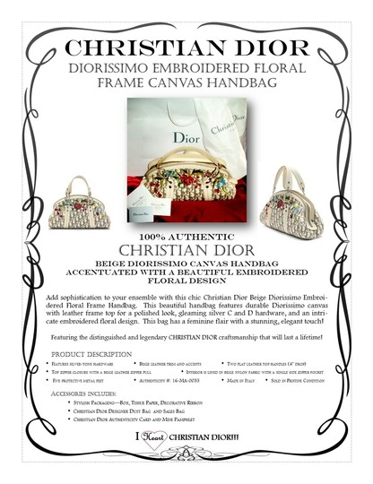 Dior Handbag Leather Christian Floral Satchel in Multi