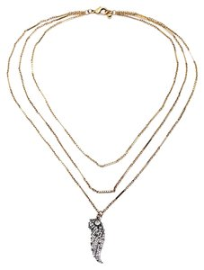 Other Crystal Wing 3 Tier Gold Necklace