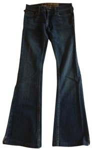 Hollister Bootcut Dark Boot Cut Distressed Flare Leg Jeans-Dark Rinse