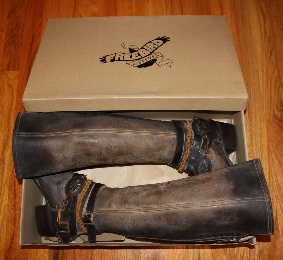 2172e04d67c FreeBird Black New By Steven Aspen / Abbot Distressed Leather Boots/Booties  Size US 8 Regular (M, B) 17% off retail