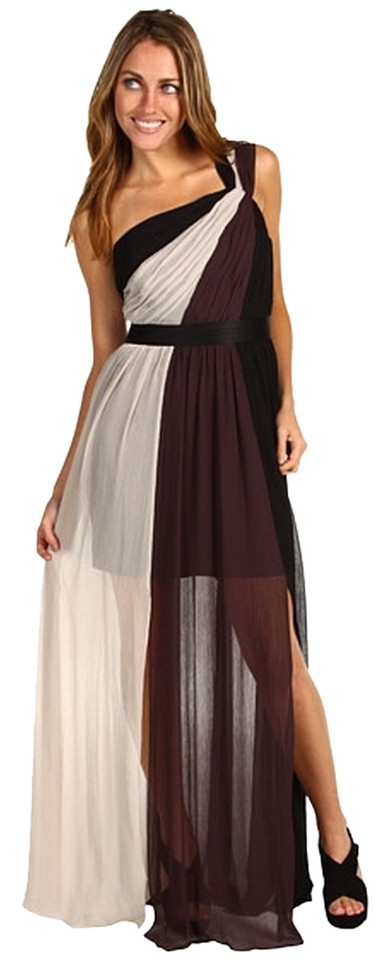 no sale tax cost charm Discover Max and Cleo Black Brown White Estee Colorblock Long Casual Maxi Dress Size  4 (S) 65% off retail
