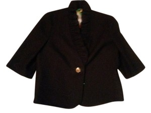 MILLY Milly, NY Black Jacket in Fantasy Textured Fabric with 3/4 Sleeves