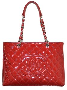 Chanel Patent Leather Grand Shopper Tote in Red