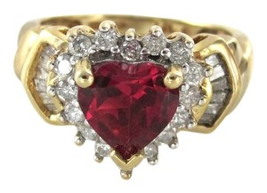 14K KARAT YELLOW GOLD HEART RING 18 DIAMOND RED STONE 2.4 DWT VALENTINES SZ 4