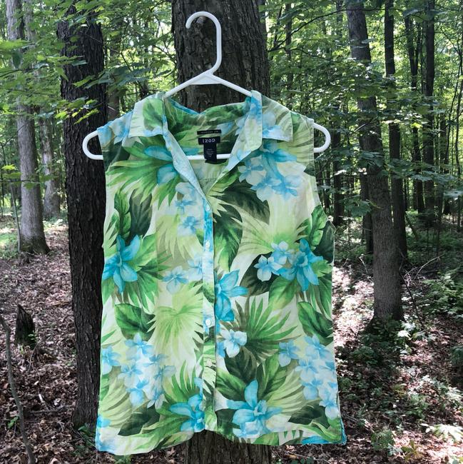 Preload https://img-static.tradesy.com/item/687491/izod-blue-green-tropical-silk-blouse-activewear-hoodie-size-12-l-0-3-650-650.jpg
