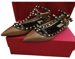 Valentino Brown with black straps Flats