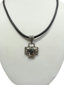 John Hardy John Hardy Ladies Necklace Sterling Silver Cross on Leather Cord