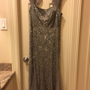 Adrianna Papell Pewter Tulle and Beading Formal Bridesmaid/Mob Dress Size 14 (L)