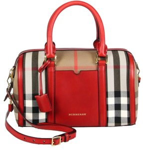 Burberry Crossbody Shoulder Hand Leather Fabric Dust Satchel in check & red