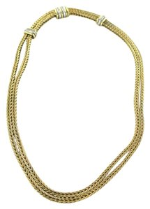 18KT SOLID YELLOW GOLD LA PEPITA NECKLACE GENUINE DIAMONDS CHAIN FOX TAIL JEWEL