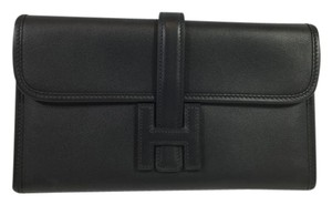 Hermès Jige Black Leather Clutch
