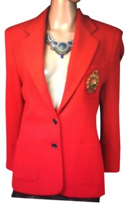 Ralph Lauren Just Like New Ralph Lauren Signature Wool Blend Solid Red Crested Blazer Jacket